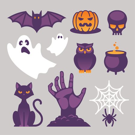 Set of bright Halloween icons, signs and symbols with cat, bat, skull, owl, spider and spiderweb, pumpkin, ghost, witch cauldron and zombie hand images isolated on light gray background.