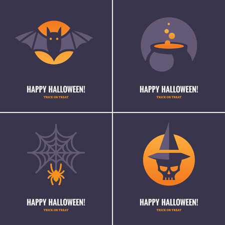 bat: Set of four Halloween cards with graphic signs and symbols of bat, spider and spiderweb, skull in witchs hat and witchs cauldron on dark violet background