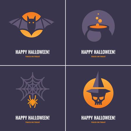 wiedźma: Zestaw czterech kart Halloween znaków graficznych i symboli bat, pająk i pajęczyna, czaszki w kapeluszu czarownicy i kocioł czarownicy na ciemnym tle fioletowego