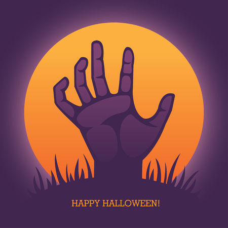 rise: Vector illustration with zombie hand  for Halloween greeting card, invitation, banner or poster design