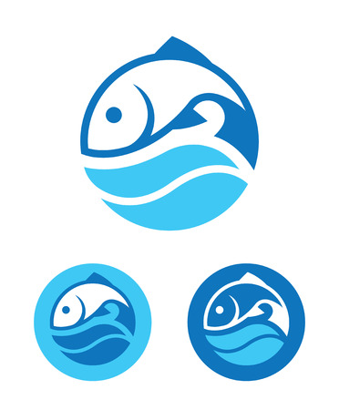 fish: Blue round icon with fish and wave in three color variants isolated on white background