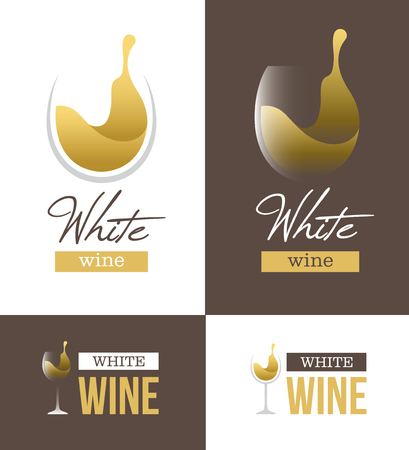 wine label design: Abstract white wine  with wine glass and text isolated on white and brown backgrounds