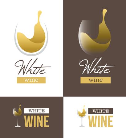 Abstracte witte wijn met wijnglas en tekst geïsoleerd op een witte en bruine achtergrond