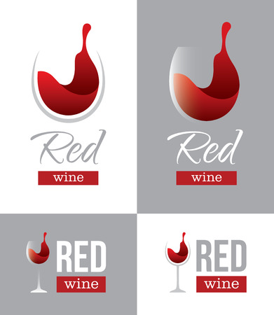 wine label design: Abstract red wine logo with wine glass and text isolated on white and gray backgrounds