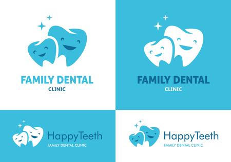 白と青の背景にファミリー歯科のかわいい顔を持つ 2 つの大小の歯と