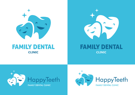with two big and small teeth with cute faces for family dental clinic on white and blue backgrounds Imagens - 48054349