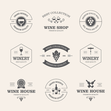 badge icon: Set of black wine labels and badges isolated on light background