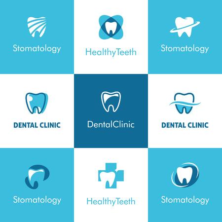 Conjunto de iconos abstractos, signos y símbolos con los dientes para clínica dental, dentista o el concepto de la estomatología en colores azul y blanco Ilustración de vector