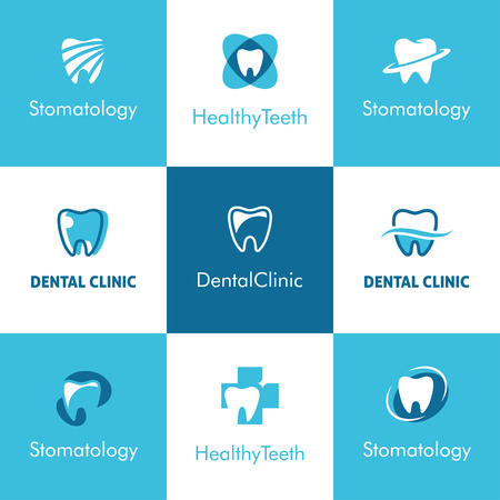 Set of abstract  icons, signs and symbols with tooth for dental clinic, dentist or stomatology  concept in blue and white colors Illustration