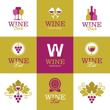 vinho: Conjunto de brilhantes logotipos vinho criativas, ícones, sinais e símbolos com uvas, garrafas, copos de vinho e barril