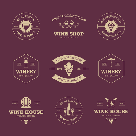 barrel: Set of wine labels and badges isolated on dark background