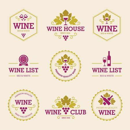 Set of colored wine labels and badges with grapes, bottles, wineglasses and barrel isolated on light background