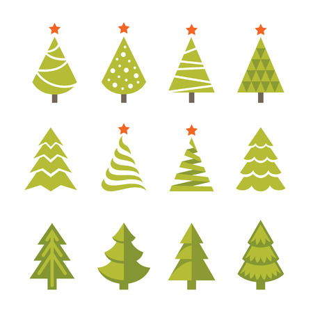 christmas icon: Set of bright green christmas, fir and spruce trees icons, symbols and logos isolated on white background