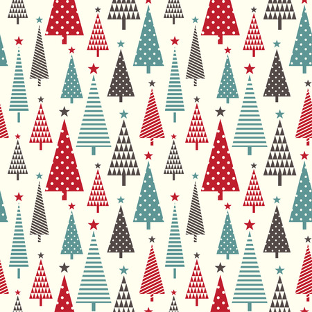 christmas trees: Bright seamless pattern with  abstract christmas tree on light background