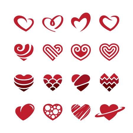 Satz von roten Herzen Symbole, Logos, Zeichen und Symbole für Liebe, Romantik, Leidenschaft, Valentinstag oder Hochzeitstag Design-Konzept. Isoliert auf weißem Hintergrund
