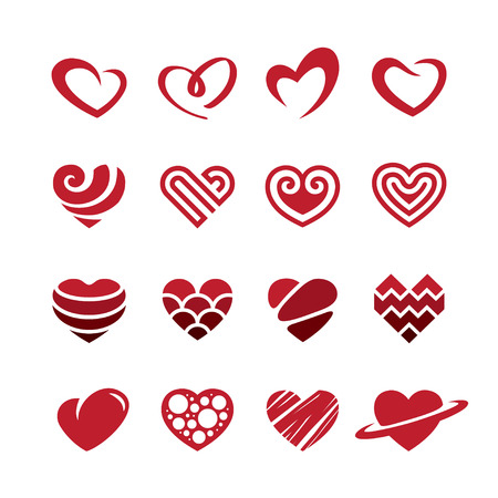 Set of red heart icons, logos, signs and symbols for love, romantic, passion, Valentines Day or wedding day design concept. Isolated on white background