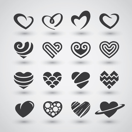 passion: Set of black heart icons, logos, signs and symbols for love, romantic, passion, Valentines Day or wedding day design concept Illustration