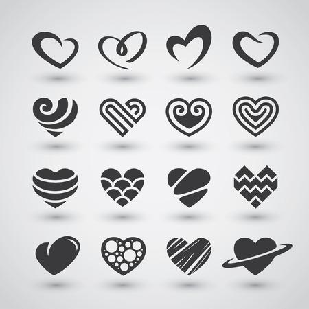 Set van zwarte hart iconen, logo's, tekens en symbolen voor liefde, romantisch, hartstocht, Valentijnsdag of bruiloft dag ontwerpconcept