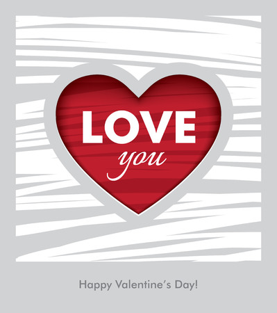 dating and romance: Creative Valentines Day greeting card with textured red heart and white background Illustration