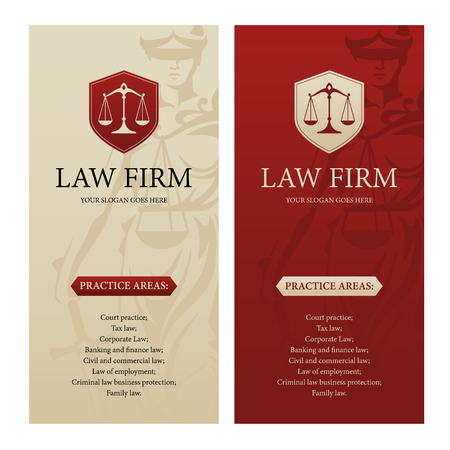 firms: Vertical design template for law office, firm or company with justice scales logo and Themis statue silhouette on background. Can be used as web banner, poster, brochure, leaflet or flyer etc.