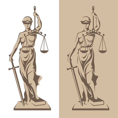 Vector illustration of Themis statue holding scales balance and sword isolated on white background and silhouette on colored background. Symbol of justice, law and order Vettoriali