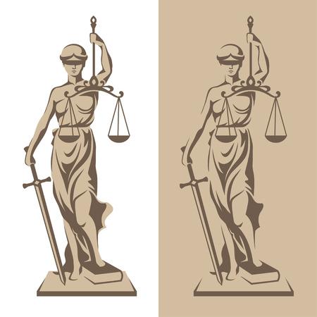 Vektor-Illustration der Themis Statue hält Waage im Gleichgewicht, und Schwert isoliert auf weißem Hintergrund und Silhouette auf farbigem Hintergrund. Symbol der Gerechtigkeit, Recht und Ordnung
