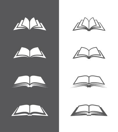 Ensemble de ouvertes icônes de livres isolés sur un fond noir et blanc. Peut être utilisé pour la librairie ou un magasin, une bibliothèque, d'enseignement ou d'un concept d'apprentissage, etc.