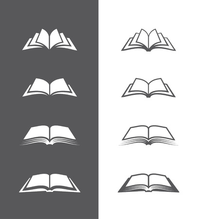 Set van open boek iconen geïsoleerd op zwart-witte achtergronden. Kan gebruikt worden voor boekhandel of winkel, bibliotheek, onderwijs of leren concept etc.