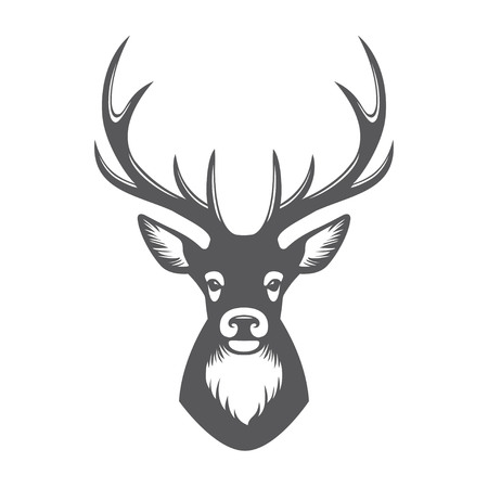 Deer head black illustration isolated on white background