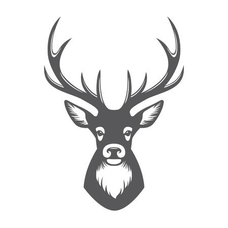 blanco negro: Pista de los ciervos ilustración negro aislado en el fondo blanco