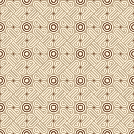 light brown: Seamless  linear geometric pattern with circles in light brown colors Illustration