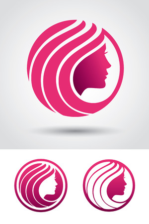 salon spa: Round icon with woman face profile. Can be used  for beauty or hair salon, spa, cosmetic