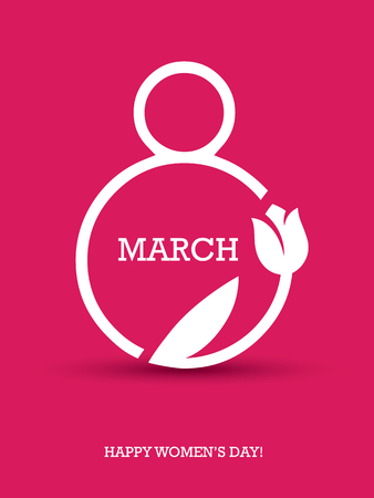women: Creative minimalistic design for international womens day on the 8th of march with number 8 and tulip symbol on red background Illustration