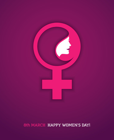 Creative design concept with pink woman symbol and woman face profile