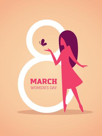 Illustration für den internationalen Frauentag am 8. März mit der Nummer 8 auf den Hintergrund und elegante Mädchen Silhouette Vektorgrafik
