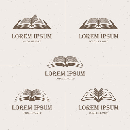 education icons: Set of five open books icons with text in retro style Illustration