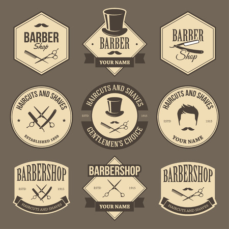 barber scissors: Set of vintage barbershop labels, emblems,  signs and symbols in brown colors