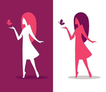 mujer elegante: Ilustración gráfica de la silueta de niña en pose elegante con mariposas para la belleza de la mujer o el concepto de diseño de la salud