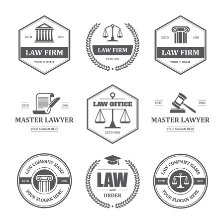 scroll of the law: Set of black law office, firm or company, lawyer, attorney services labels,  signs and symbols isolated on white background