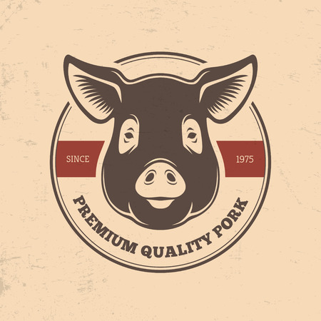 pork meat: Pork round label with pig head in retro style Illustration
