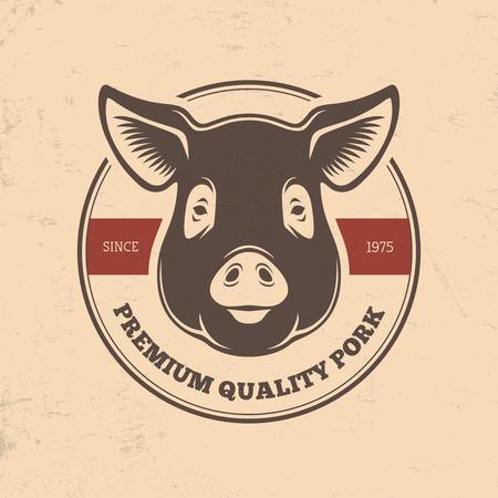 Varkensvlees round label met varken hoofd in retro stijl