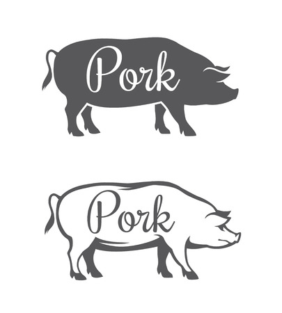 pork: Black pig silhouette and outline illustration for pork meat or butcher shop isolated on white background