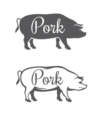 Czarna sylwetka świnia i zarys ilustracji dla mięsa wieprzowego lub masarni na białym tle