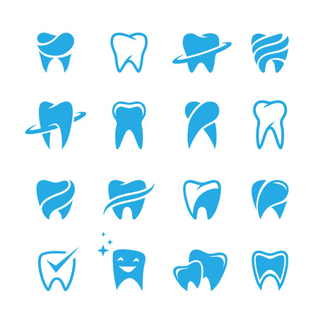 stomatology icon: Set of blue teeth, tooth icons isolated on white background. Can be used as for dental, dentist or stomatology clinic, teeth care and health concept Illustration