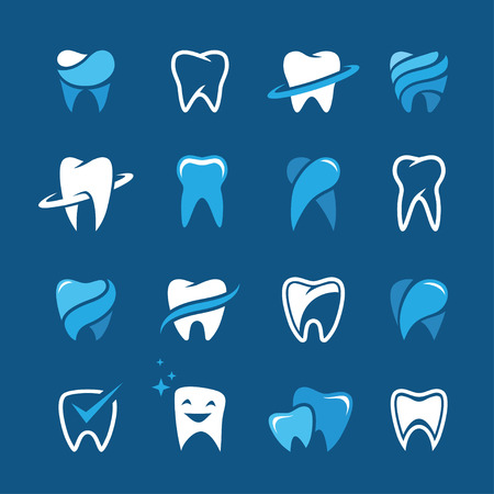 stomatology: Set of teeth, tooth icons on blue background. Can be used as for dental, dentist or stomatology clinic, teeth care and health concept Illustration