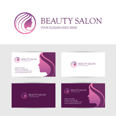 schoonheid: visitekaartje ontwerp sjabloon voor schoonheid of haar salon, kuuroord, cosmetica, make-up, gezicht of skin care center met vrouw profiel Stock Illustratie