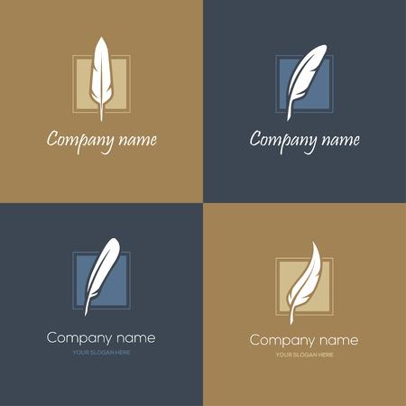 Set di quattro simboli quadrati con piume nei colori blu e oro. Può essere usato come per studio legale, un avvocato o scrittore, concetti letterari o educativi, ecc