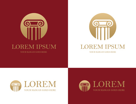 architecture: Antique column round icon in red and golden colors. Can be used as for law firm, architectural, historical or educational concepts