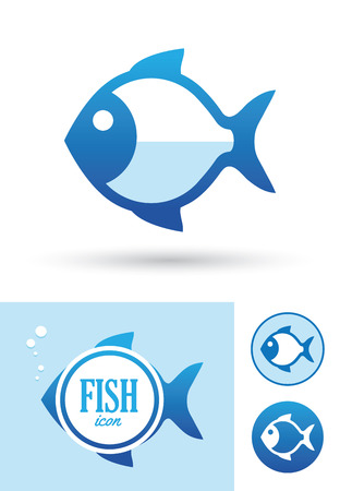 blue fish: Blue round fish icon isolated on white background Illustration