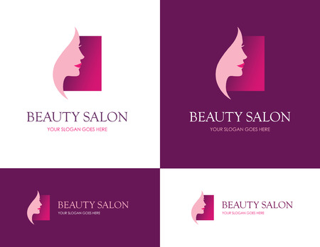 beauty salons: Square  design for beauty salon, face and skin care product, cosmetics, makeup or spa center with woman profile